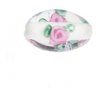 Glass Lamp Bead Oval 12x9mm Crystal With Roses